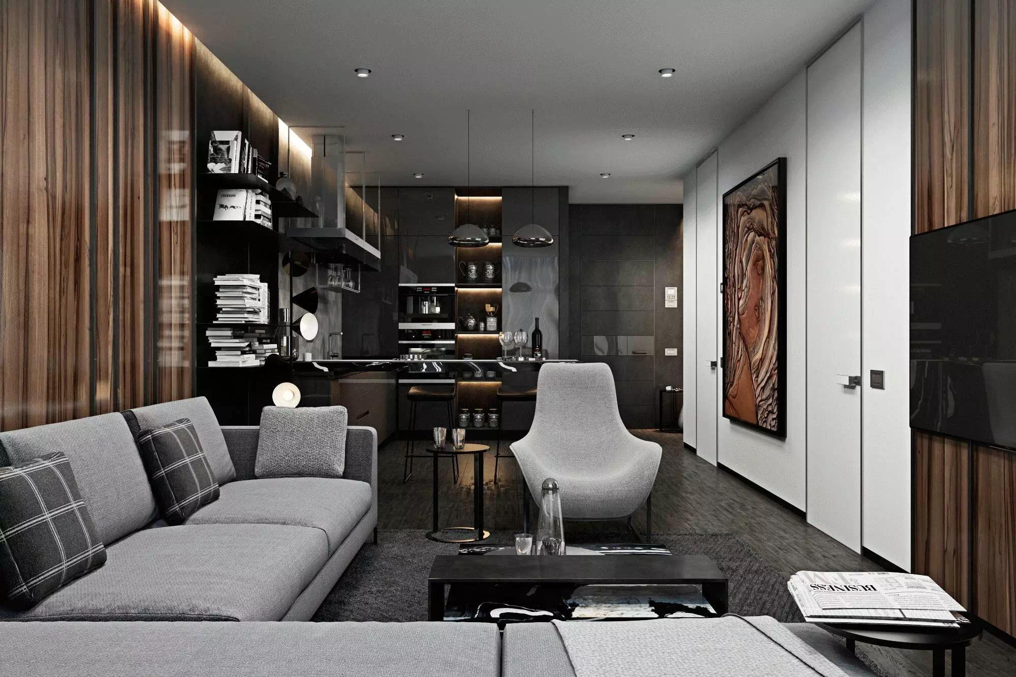 金色丽都二期现代简约风格三居装修效果图