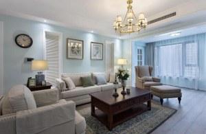 天朗御湖140平美式风格四居家装效果图